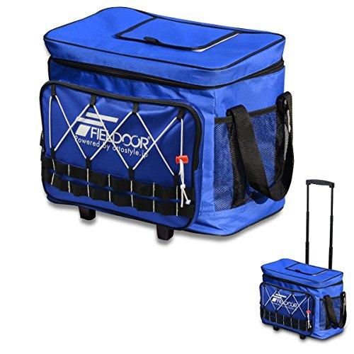 FIELDOOR キャスター付 ソフトクーラーボックス 32L 【ブルー】 収納ハンドル クーラーバッグ 保冷バッグ ...