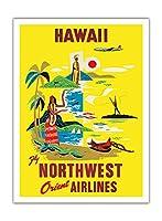 ハワイ - ノースウエスト・オリエント航空 - ビンテージなハワイの旅行のポスター c.1960s - アートポスター - 30.5cm x 41cm