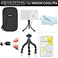 Essentialアクセサリーキットfor Nikon Coolpix s3700, s2900, s33, s7000, s6900, s3500, s6400、s3100、s4100、s100、s4300、s3300デジタルカメラはハードケース+ USB 2.0高速カードリーダー+ LCDスクリーンプロテクター+ Gripsterフレキシブル三脚+ More