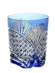 KAGAMI(カガミクリスタル) ロックグラス(笹っ葉に四角籠目紋青) 250cc T493-2522CCB