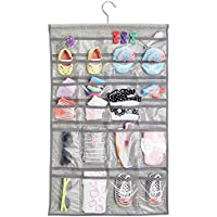 mDesign Fabric Baby Nursery Closet Organizer for Hats, Bows, Shoes, Socks - Hanging, 48 Pockets, Gray by MetroDecor