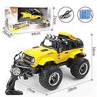 Mopoq 大型リモコン車SUV LED照明充電落下制御リモコン車の子供のおもちゃの男の子のおもちゃの車の電気ドリフト車 (Color : Yellow large, Size : Battery 3)