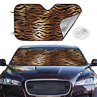 虎の動物の皮のパターン 車用サンシェード 車窓日よけ カーシェード UVカット 遮光 断熱 あなたの車を涼しく 軽量 簡単取付 カーフロントガラスカバー