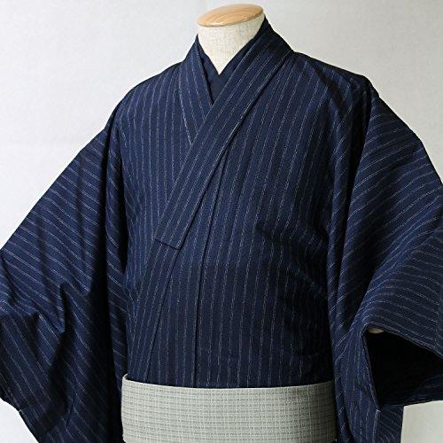 男性着物 正絹紬 単品 袷 仕立て上がり B反 新品 濃紺縞