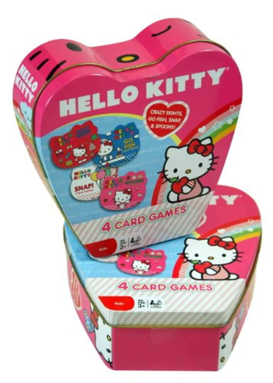 Back to School Super Saving - Sanrio Hello Kitty Tin Box with 4 Card Games (Crazy 8, SNAPI, Spoons, Go Fish) and Hello
