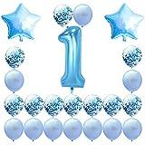 Vergeania 12インチ透明ラテックスローズゴールドペーパー風船ゴールデンローズレッド紙吹雪スパンコール風船誕生日パーティーの装飾。誕生日デコレーションパーティーデコレーション (色 : ブルー)
