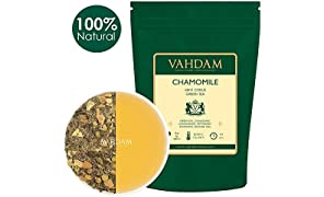 Chamomile Mint Green Tea Loose Leaf (100 Cups) | Refreshing & Energizing Mint Tea | Green Tea Leaves, Chamomile, Peppermint, Spearmint, Orange Peels, Lemongrass | Brew Hot or Iced | 100gm (Set of 2)