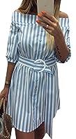 Keaac ショルダーベルトボタンダウンミディカクテルパーティーのドレスの女性のストライプ Light Blue XS