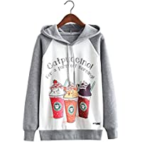 Futurino Women's Funny Animal Print Long Sleeve Fleece Lined Hoodie Pullover Tops