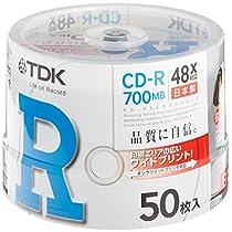 TDK CD-R 700MB 48X ホワイトワイドプリンタブル 日本製 50枚 スピンドル CD-R80PWDX50PB
