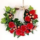 手作りソープフラワーリースキット レッド リース ハンドメイド クラフト クリスマス ローズ アイビー シャボンフラワー