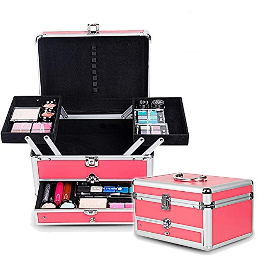 魅了するジャンプ貞特大スペース収納ビューティーボックス 女の子の女性旅行のための新しく、実用的な携帯用化粧箱およびロックおよび皿が付いている毎日の貯蔵 化粧品化粧台 (色 : ピンク)