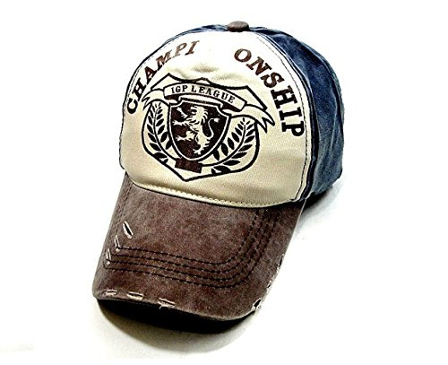 In Cristallo(インクリスターロ) CHAMPION SHIP ヴィンテージ風 ベースボールキャップ ロゴプリント 野球帽 ダメージ・汚れ加工済み アメリカン カジュアル 帽子 ファッション小物・雑貨 メンズ 多バリエーション (CHAMPIONSHIP ネイビー×ブラウン)