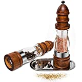 胡椒ミル スパイス ペッパー ミル コショウ 結晶塩 調味料ミル挽き 木製 粗さ調整 5 x 22cm (2個セット)