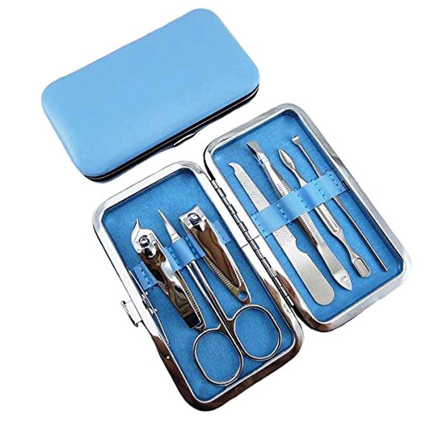 退屈な褒賞均等にネイルケア セット 爪切りセット 6セット 携帯便利グルーミング (ブルー)