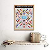 United Nations World Flags Vintage Educational Art Print Framed Poster Wall Decor 12x16 inch 世界国旗ビンテージポスター壁デコ 画像