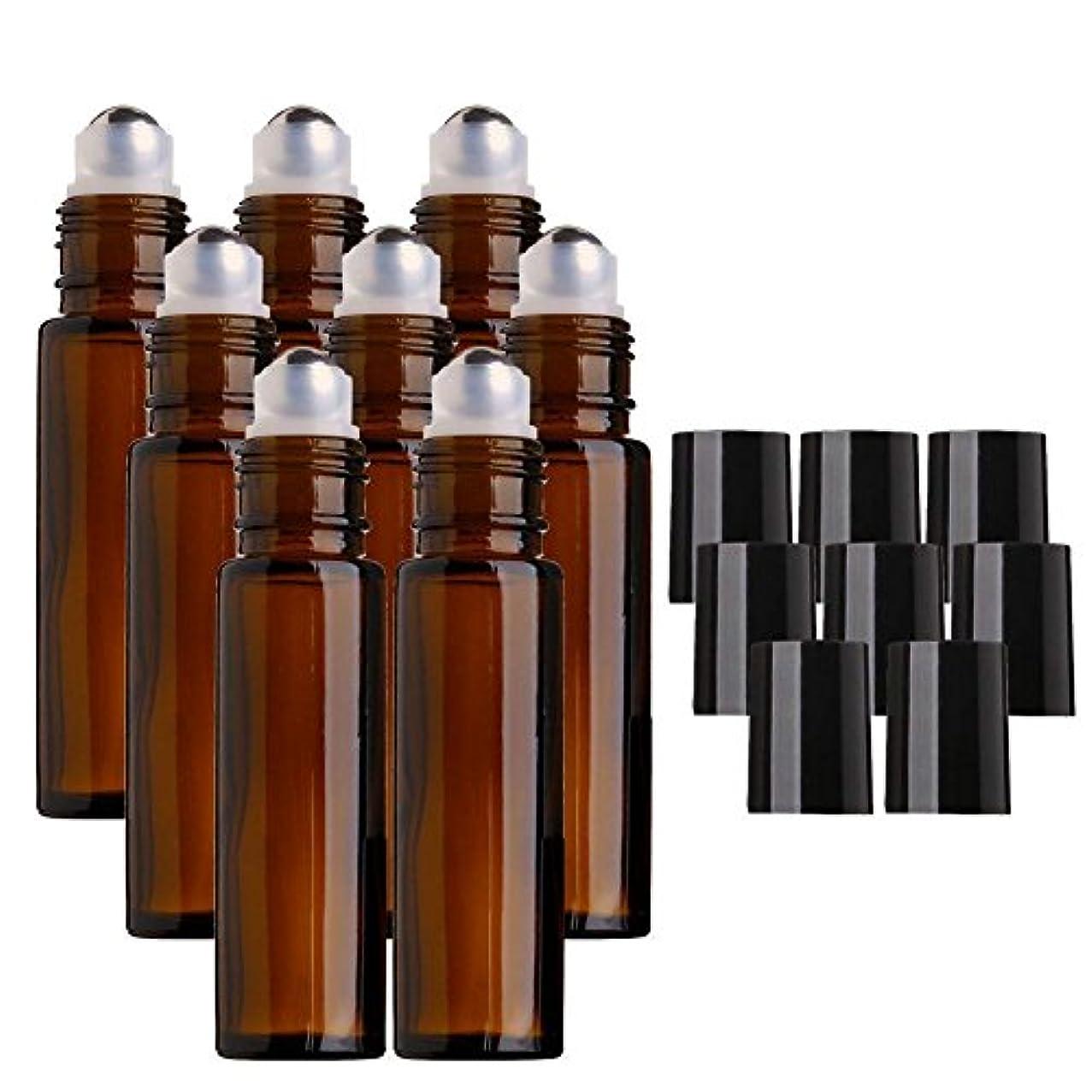 測定可能アラート自明DECAI 8個アロマボトル、アロマ保存容器、ガラス瓶、ガラスびん、エッセンシャルオイルボトル、ステンレススチール製メタルボール付き10mlアンバーガラスローラーボトル、エッセンシャルオイル、アロマテラピー香水、液体用ローラーボールボトル...
