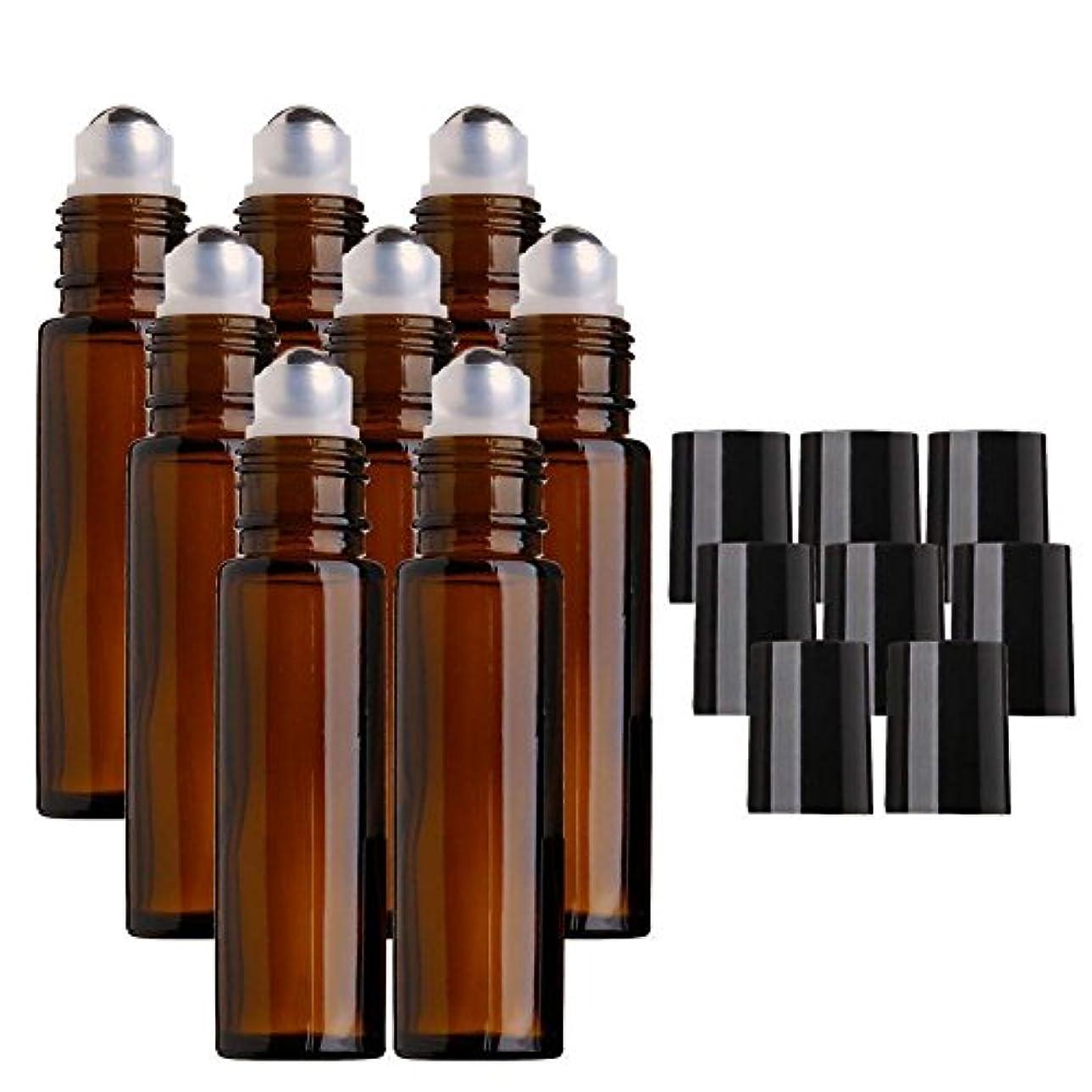 パレード蜜擁するDECAI 8個アロマボトル、アロマ保存容器、ガラス瓶、ガラスびん、エッセンシャルオイルボトル、ステンレススチール製メタルボール付き10mlアンバーガラスローラーボトル、エッセンシャルオイル、アロマテラピー香水、液体用ローラーボールボトル...
