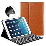 キーボードケースfor New iPad 20179.7インチ/ iPad Air / iPad Air 2–goojodoq [アップグレード]ソフトTPUバックスタンドカバー[表示角度調整可能] +磁気取り外し可能ワイヤレスBluetooth v3. 0キーボード iPad Air1/Air2/New2017 ブラウン