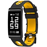RUNACC スマートウォッチ 睡眠計 血圧計 LEDパネル リモートシャッター機能 活動量計 着信知らせ 心拍計 歩数計 距離計 アラーム 座りがち注意 健康統計 IP67防水 Bluetooth4.0 Android & IOS対応 (黄色い)