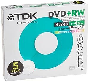 TDK データ用DVD+RW 1-4倍速 インクジェットプリンタ対応(ホワイト) 5枚パック D+RW47PB5S