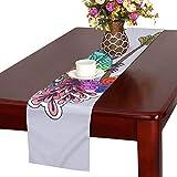 GGSXD テーブルランナー 美しいクジャク クロス 食卓カバー 麻綿製 欧米 おしゃれ 16 Inch X 72 Inch (40cm X 182cm) キッチン ダイニング ホーム デコレーション モダン リビング 洗える