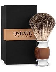 QSHAVE 100%最高級アナグマ毛オリジナルハンドメイドシェービングブラシ。人工メノウ ハンドル。ウェットシェービング、安全カミソリ、両刃カミソリに最適