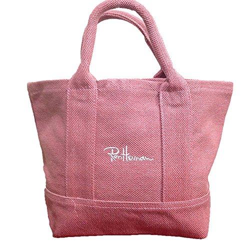 ロンハーマン Ron Herman サマー トートバッグ キャンバス 刺繍 ロゴ 麻 カバン ハンドバッグ マザーズバッグ レディース (ピンク)