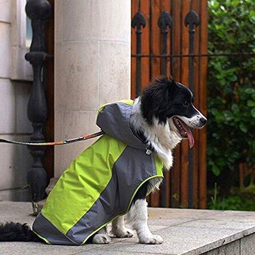 Umora 犬用レインコート カッパ 雨具 通気 帽子付 散歩用 小型犬 中型犬 大型犬(グリーン+グレー L)