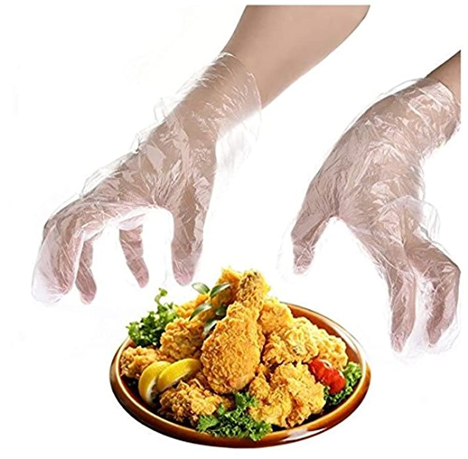 落ち着くスペイン語首Heyuni.使い捨て手袋 極薄ビニール手袋 ポリエチレン 透明 実用 衛生 100枚