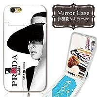 chatte noir iPhoneXS Max ケース ミラーケース 鏡付き ミラー付き カード収納 おしゃれ オードリーヘップバーン paris A プリントデザイン