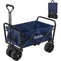 Sable キャリーカート アウトドア ワゴン キャリーワゴン 耐荷重100kg 108L大容量 折りたたみ式 手洗い可 (紺色)