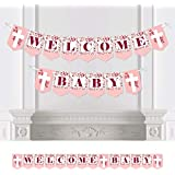 Big Dot of Happiness ピンク エレガント クロス - 宗教的 女の子 ベビーシャワー バンティングバナー - パーティーデコレーション - 歓迎 ベビー