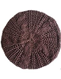RICCOS(TM)レディ冬暖かいウールかぎ針編みニットスキーハップベレー編組バギービーニー -コーヒー