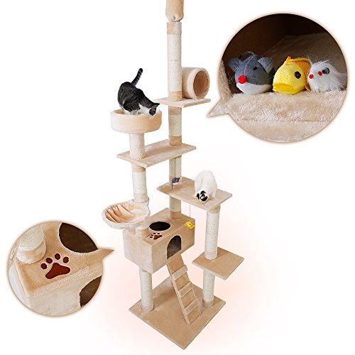 LOWYA (ロウヤ) キャットタワー 突っ張り おもちゃ付き 爪とぎ ベッド ハンモック ハイタイプ 高さ230cm...