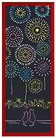 Airashika(あいらしか) 和雑貨 注染手ぬぐい『花火猫』 下町花火と親子猫 夏祭り 33×90cm 額縁セット (