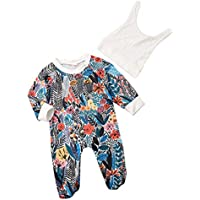 Camidy Infant Baby Long Sleeve Sleepwear Nightgown Onesie Romper Footed Jumpsuit + Hat