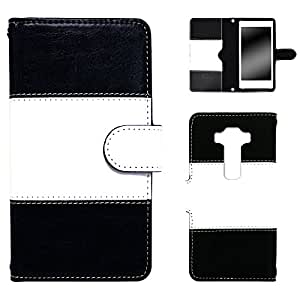 whitenuts Zenfone3 ZE520KL ケース 手帳型 バイカラー ブラック カード収納 ストラップホール WN-OD265066