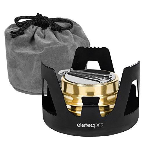EletecPro アルコールストーブ 五徳 セットアルコールバーナー アウトドアストーブ 超軽量 風防 レジャー アウトドア 調理器具 トランギアと互換性のある 収納袋付き アウトドア ギア 釣り 旅行用品 (ブラック)