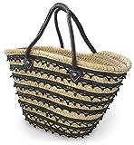 かご バッグ モロッコ マルシェバッグ トートバッグ ビーズ使い [旅行 レジャー 買い物 大容量バッグ]