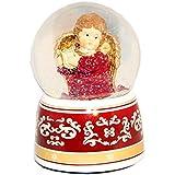 20031【Minium Collection】 Snowdome ミュージカルスノーグローブ。赤。ハープと天使。【直径】10cm