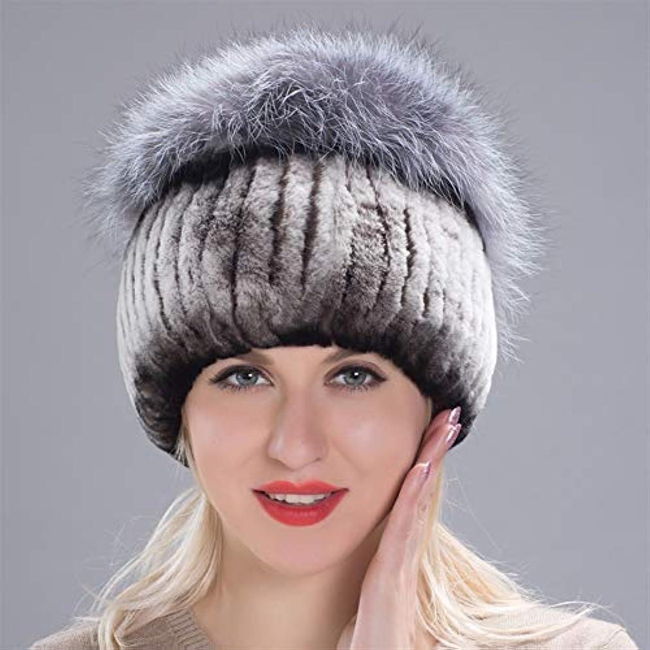 飾り羽手入れまたはどちらかACAO ドリル包頭とさんさんの冬のウールニット冬の帽子のウサギの毛皮の帽子厚く暖かいイヤーキャップキツネの毛皮の帽子 (色 : Coffee white, Size : M)