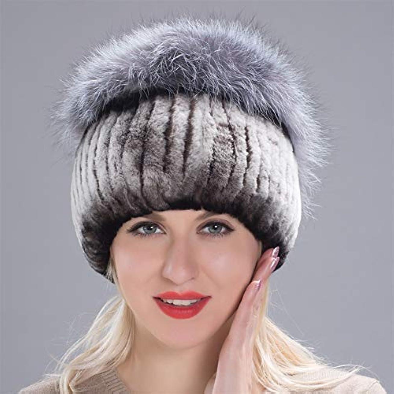 緩やかな王位個人ACAO ドリル包頭とさんさんの冬のウールニット冬の帽子のウサギの毛皮の帽子厚く暖かいイヤーキャップキツネの毛皮の帽子 (色 : Coffee white, Size : M)