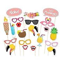 21pcs フラミンゴ 熱帯 夏 写真ブース 小道具 パーティー 結婚式 装飾