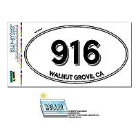 916 - ウォルナットグローブ, CA - カリフォルニア - 楕円形市外局番ステッカー