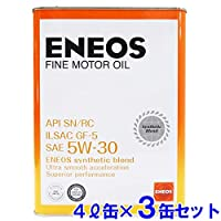 【3缶セット】 ENEOS エネオス FINE ファイン エンジンオイル モーターオイル SN/RC/GF-5 5W-30 部分合成油 4L缶×3 (【3缶セット】ファイン 5W-30)