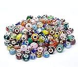 Style Beads (スタイル ビーズ) 50 ピース ロット シルバー ランプワーク ムラーノ ガラス ヨーロピアン ミックス ビーズ - カミリア、トロール、ビアッジなど、主なチャーム ブレスレットの多くに対応しています