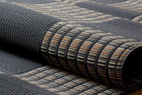 イケヒコ ラグ カーペット PPカーペット ポリプロピレンカーペット 洗える (洗濯機不可) 6畳 『ウィード』 ブラック 江戸間6畳 (約261×352cm)