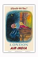 イギリス ロンドン - あなたはどこにいますか? - マハラジャロメオ - エア?インディア - ビンテージな航空会社のポスター c.1950s - アートポスター - 31cm x 46cm