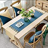 QY テーブルランナー イングニー コットンとリネン スプライス テーブルフラグ デコレーション 表 ダイニングテーブル コーヒーテーブル 結婚式 パーティー (Color : Blue, Size : 36x180cm)